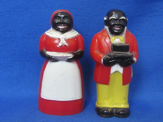 """Plastic Aunt Jemima & Uncle Mose Salt & Pepper Shakers – 3 1/2"""" tall – by F&F Mold & Die"""