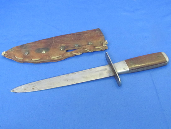 """Unmarked Fixed Blade Knife with Leather Sheath – 12 1/2"""" long – Wood Handle"""