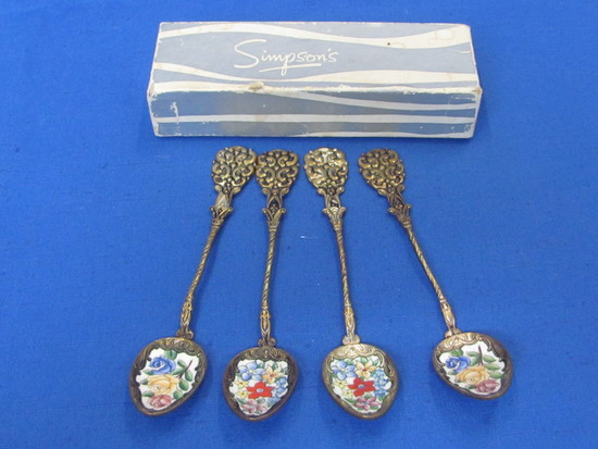 """Set of 4 Decorative Spoons with Enamel Floral Bowls – 4 7/8"""" long – In box marked """"Simpson's"""""""