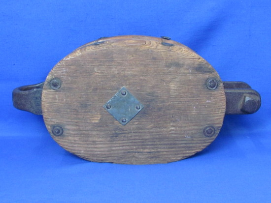 """Large Wood & Cast Iron Pulley – 15 1/4"""" x 7 1/2"""" x 4 1/2"""" - No markings"""