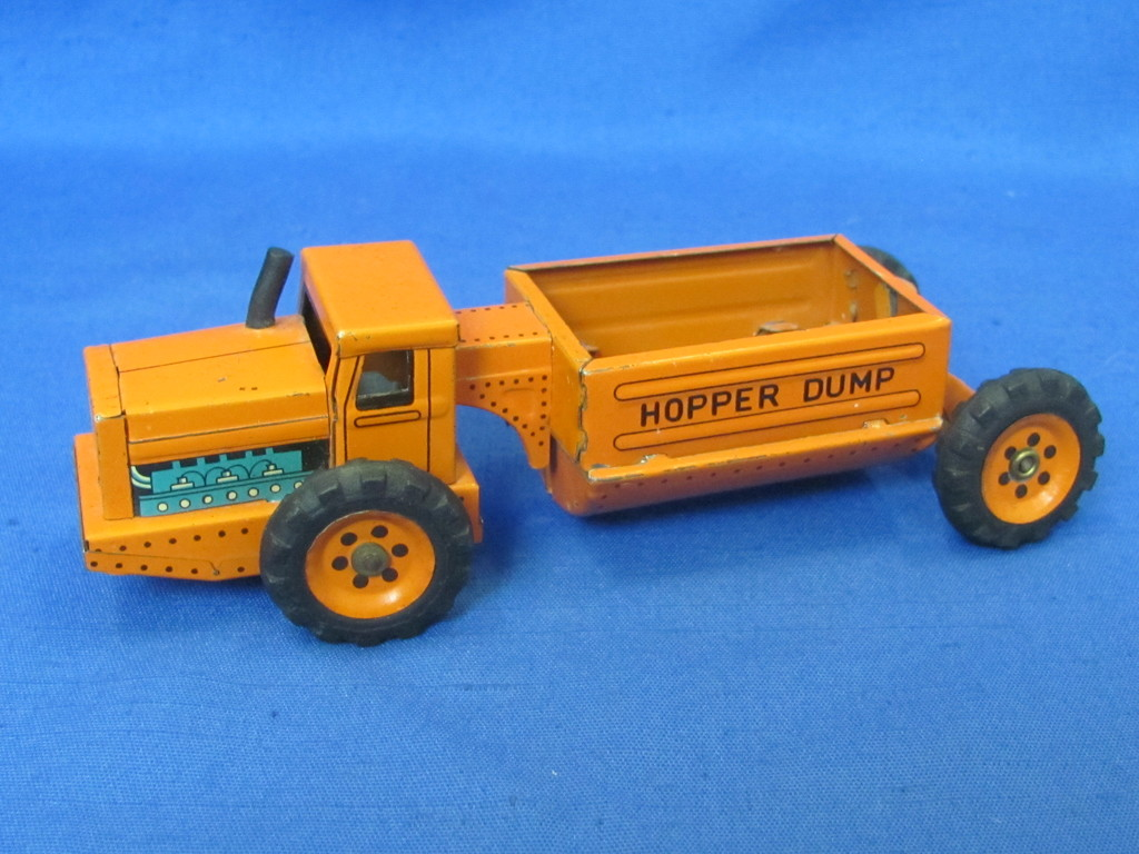 """Tin Friction """"Hopper Dump"""" Truck by Linemar Toys – Made in Japan – 6"""" long"""