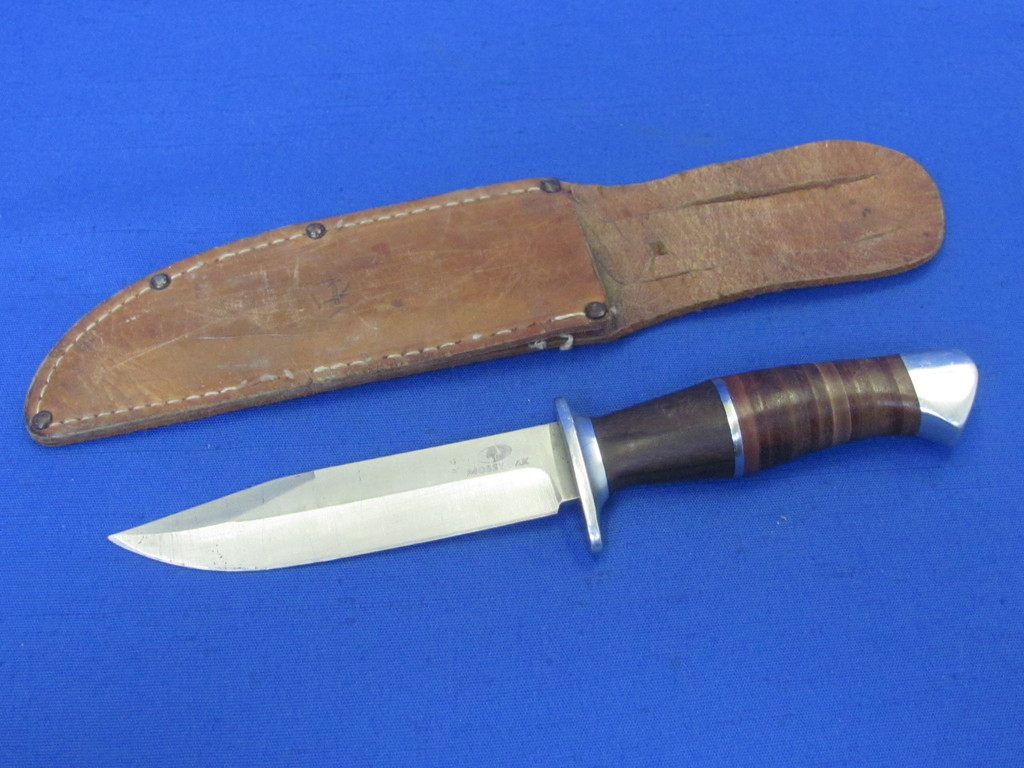 """Mossy Oak Fixed Blade Knife with a Leather Sheath – 8"""" total length"""