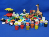 Mixed Lot of Small Toys – Most Fisher-Price – Includes 9 Little People w Wood Parts