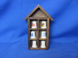 Porcelain Advertisment Thimbles With Wood Display Case