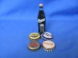 1994 Coca Cola Miniature Bottle & Bottle Caps – Magnets Glued On Each Item