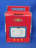 "Tin Mail Box Bank by the Ohio Art Co. - 6"" tall – Can be wall mounted"