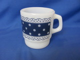 Fire King Anchor Hocking Blue Polka Dot Lace Coffee Cup