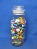"""Lot of 200+ Glass Marbles in 1980 Mr. Peanut Jar – Jar is 9 1/2"""" tall – 7 Shooters"""