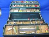Metal Tackle Box Full of Goodies: Lures, Floating Fish Knife, Bobbers, Fish Mitt & more