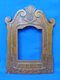 "Antique Hand Carved Wood Frame – WWI Memorial? - Foreign Language – 11 3/4"" tall"