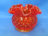 "Fenton Glass Vase – Ruffled Hobnail in Colonial Orange – 3"" tall"