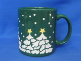 Waechtersbach Mug – Made in Germany – Green with White Christmas Trees – Snowing