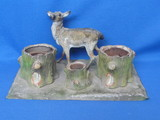 "Antique Tin Desk Set? Ink Well – Deer by Stumps – 10"" x 6 1/4"" - Metal inserts in stumps"