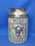 "Cute Milk Can Tin ""Dairy Goodness"" with Cow – 6"" tall"