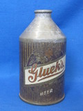 """Steel Cone Top Beer Can """"Gluek's – Silver Growler – The beer that speaks for Itself"""""""