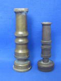 "2 Vintage Brass Hose Nozzles ""Allenco = Just Rite"" & 1 made in USA – 4 1/4"" & 3 1/4"" long"