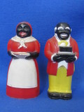 "Plastic Aunt Jemima & Uncle Mose Salt & Pepper Shakers – 3 1/2"" tall – by F&F Mold & Die"