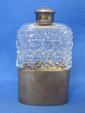 "Crystal Perfume Bottle with Silverplate Base & Cap – 4 1/4"" tall"