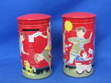 "Pair of Tin/Metal Banks – Children Playing Post Office – 4 1/2"" tall – No maker's mark"