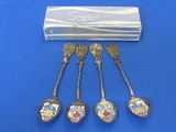 "Set of 4 Decorative Spoons with Enamel Floral Bowls – 4 7/8"" long – In box marked ""Simpson's"""