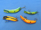 "4 Fishing Lures: Lazy Ikes – Longest is 3 1/2"" - 1 is unmarked, made of wood"