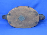 "Large Wood & Cast Iron Pulley – 15 1/4"" x 7 1/2"" x 4 1/2"" - No markings"