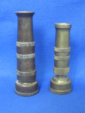 "2 Vintage Brass Hose Nozzles ""Artisan Genuine"" & ""Nelson"" – 4"" & 3 1/2"" long"