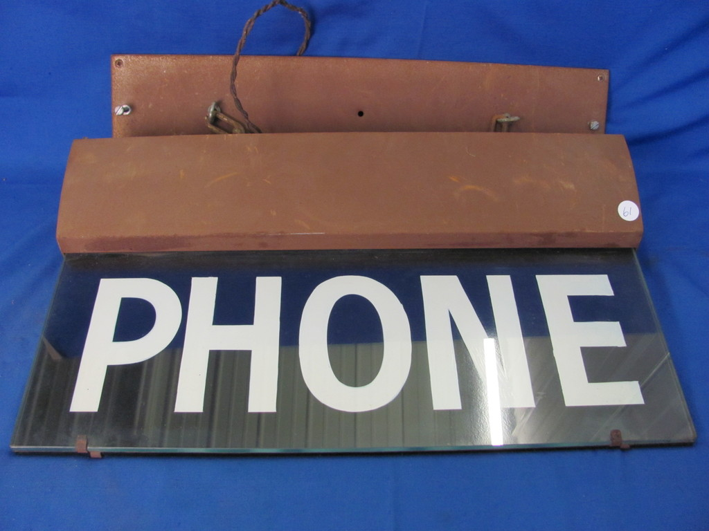 """20""""x22 Vintage Lighted Double Sided Glass Phone Sign (Heavy Item)"""