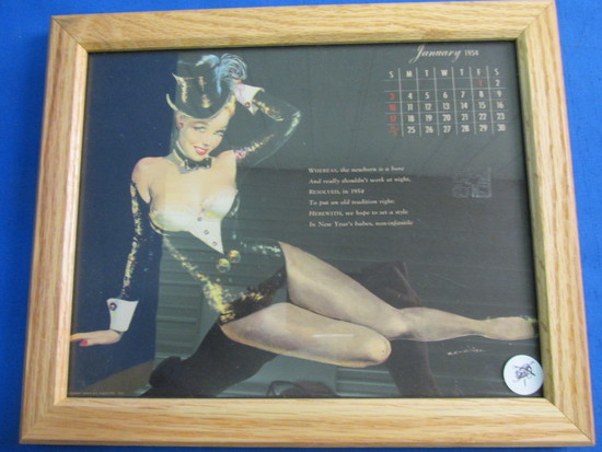 "Framed Vintage Pin-Up  Calendar Page: January 1954 11 1/4"" X 9 1/4"""