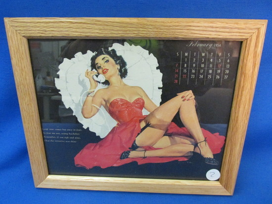 "Framed Vintage Pin-Up  Calendar Page: February 1954 11 1/4"" X 9 1/4"""