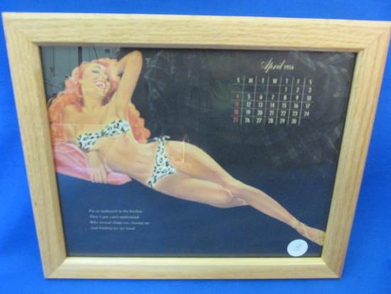"""Framed Vintage Pin-Up  Calendar Page: April  1954 11 1/4"""" X 9 1/4"""""""