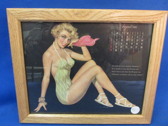 "Framed Vintage Pin-Up  Calendar Page: August  1954 11 1/4"" X 9 1/4"""