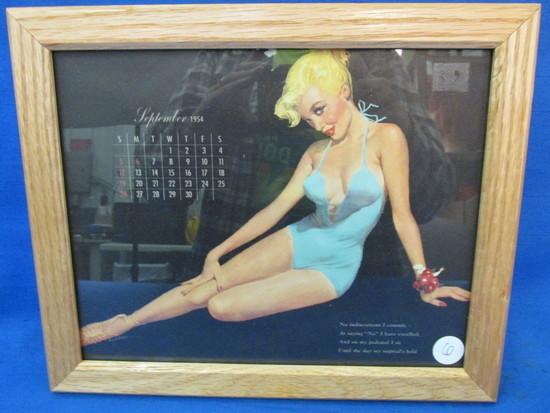 """Framed Vintage Pin-Up  Calendar Page: September  1954 11 1/4"""" X 9 1/4"""""""