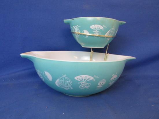 Vintage Pyrex Hot Air Balloons Turquoise Cinderella Mixing Bowl Set Chip Dip 444 & 441