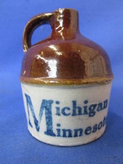 """Miniature Pottery Jug – It's """"The Little Brown Jug""""  - """"Michigan Minnesota – Who will Win?"""""""