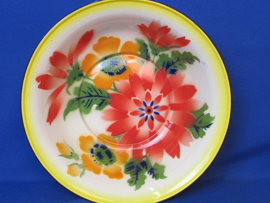 "Large Enamel Bowl – Colorful Floral Design – 15"" in diameter – Made in Hong Kong"