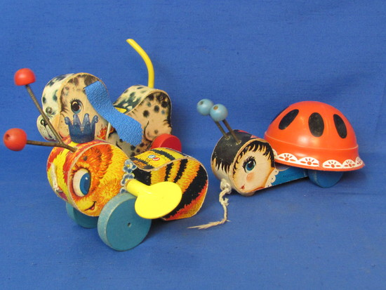 3 Vintage Wood Fisher-Price Pull Toys: Queen Buzzy Bee, Playful Puppy, Ladybug