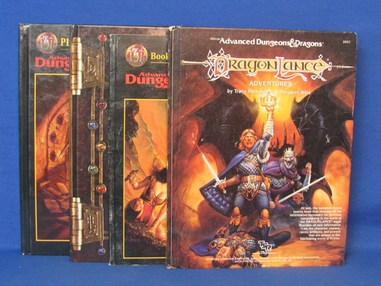 4 Dungeons & Dragons Books: Dragon Lance, Book of Artifacts, Player's Handbook