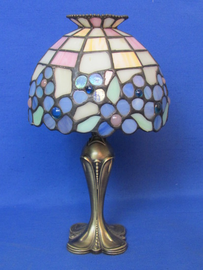 "Metal Tea Light Candle Holder with Stained Glass Shade in Blues/Purples – 10"" tall"