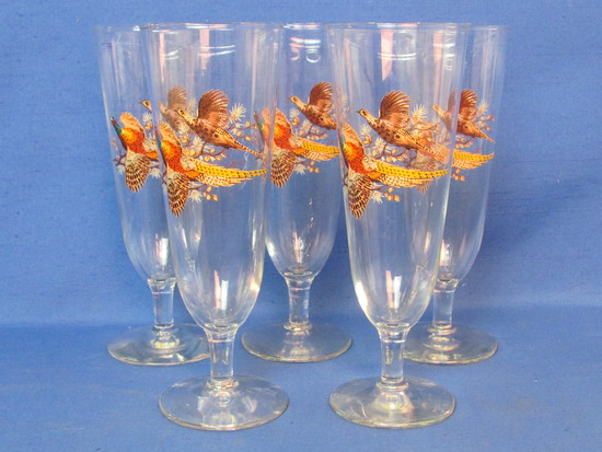 "Set of 5 Fluted Beer Glasses with Pheasant Design on Front – 8 1/8"" tall"