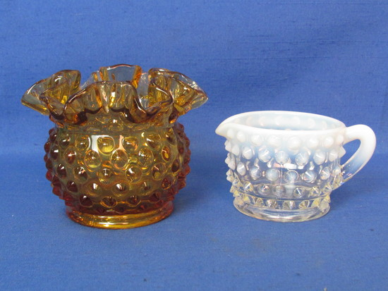 Small Fenton Glass Amber Hobnail Vase & French Opalescent Creamer – Taller is 3""
