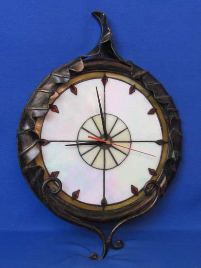 "Metal & Glass Wall Clock – Needs new works, doesn't run – 17"" long"