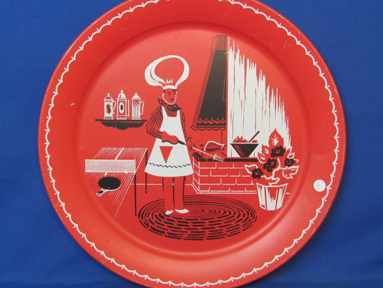 "Large Metal Tray – Red, White & Black Barbecuing Scene – 19"" in diameter"