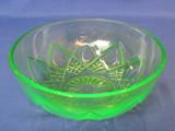 """Hazel-Atlas Green Depression Glass Bowl """"Fancy"""" Pattern – 8"""" in diameter"""