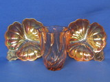 Pink/Orange Glass Vase made in France – 2 Flower Shaped Dishes (Jeannette?)