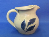 "Salt-Glazed Creamer w Cobalt Blue Leaves by Williamsburg Pottery – 1992 – 3 1/2"" tall"