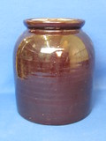 """Brown Glazed Stoneware Jar – 8"""" tall – Comes w Wood Lid (Not original)"""