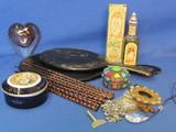 Vanity Lot: 2 Vintage Hand Mirrors, 1976 Avon California Perfume, Trinket Boxes