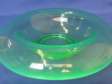 "Green Depression Glass Console Bowl – 11 1/2"" in diameter"