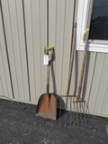 """Shovel & 2 Pitch Forks – Wood Handles – Longest is 61"""""""